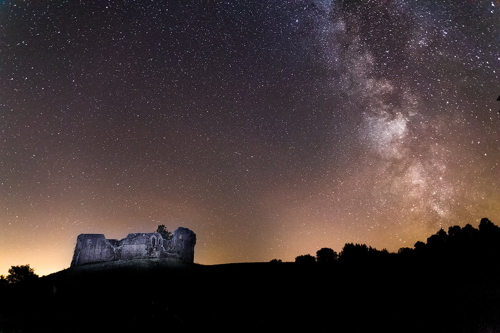 Morton Castle under the Milky Way