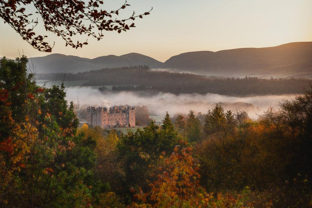 Drumlanrig Castle in the Autumn Mist