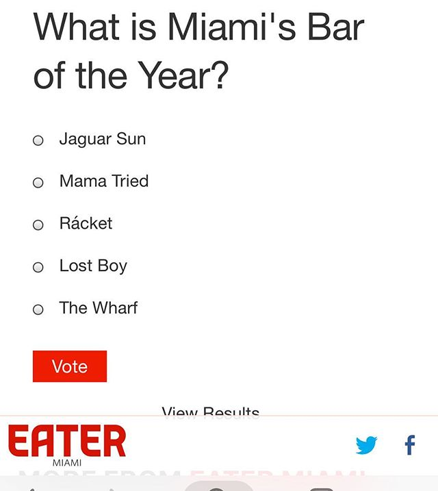 Hey gang! Please consider tossing a vote for our sister bar, Jaguar Sun, on today's Miami Eater poll for the city's bar of the year. Link in bio & thank you!