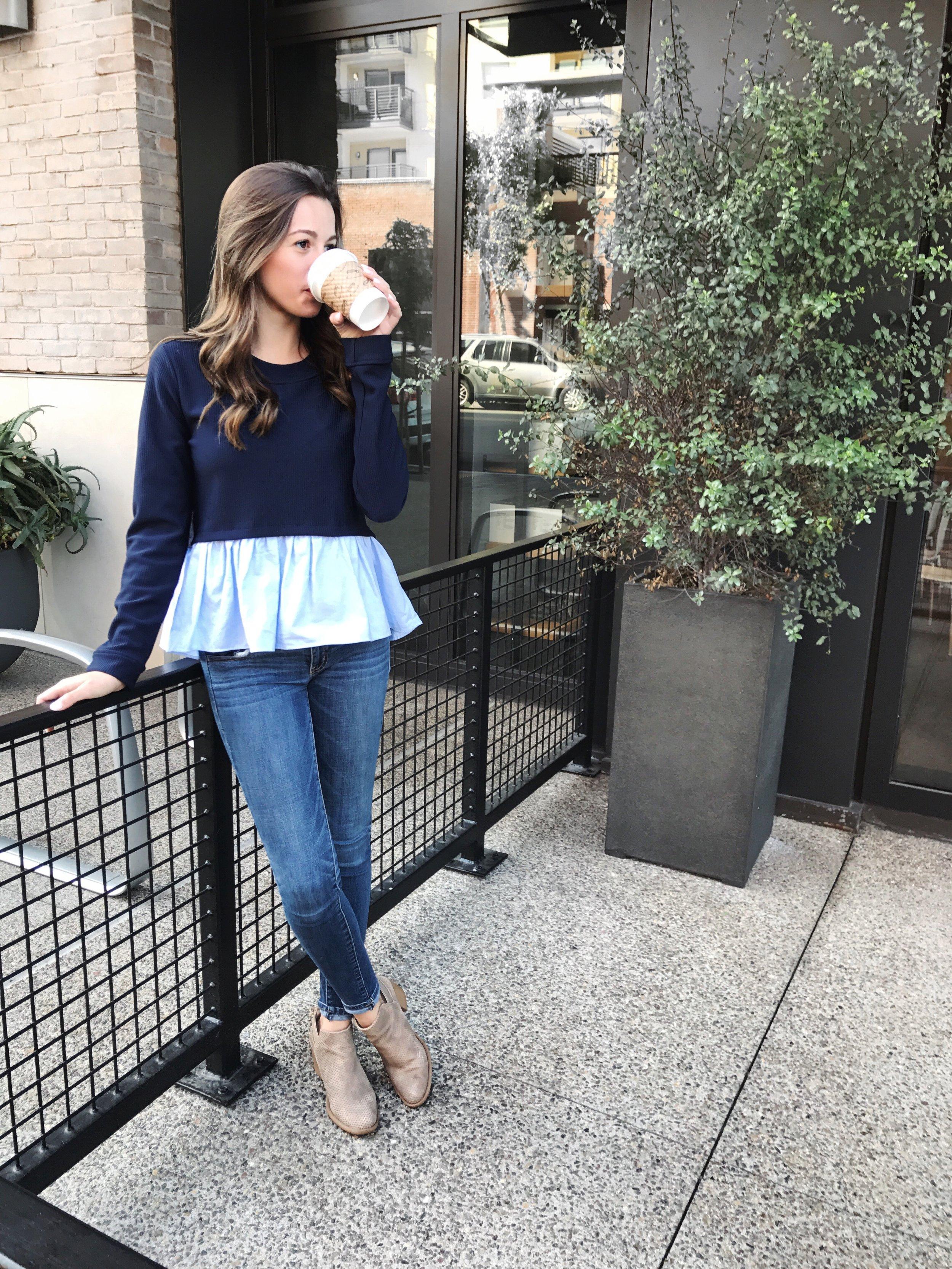 romwe blue peplum sweater