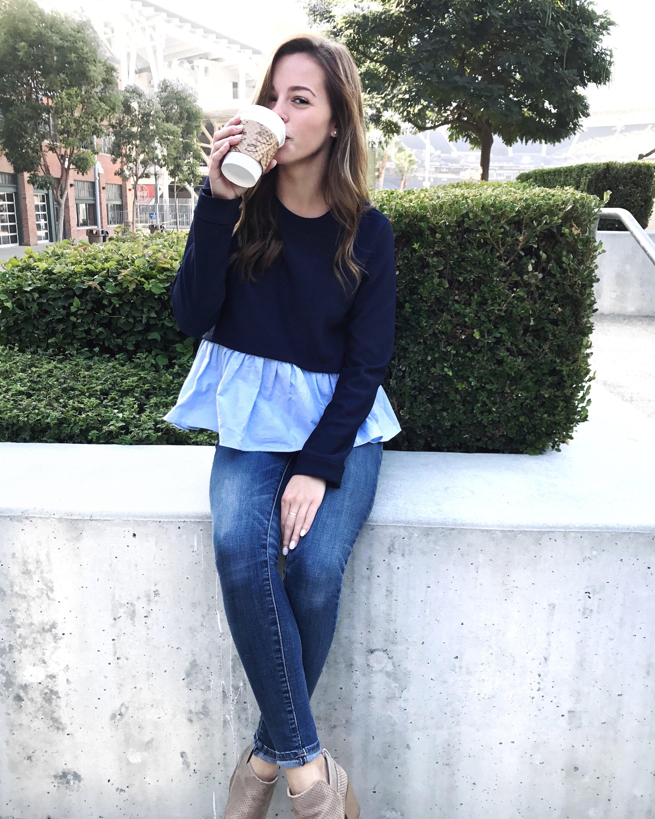 romwe blue peplum sweater and coffee