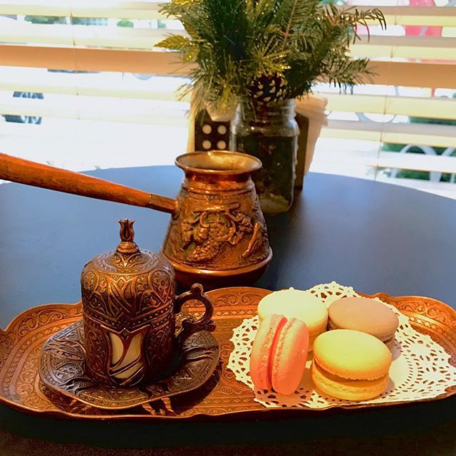 Take a break from holiday preparations and stop by for fresh Turkish Coffee ☕️🇹🇷 and some delightful macarons!