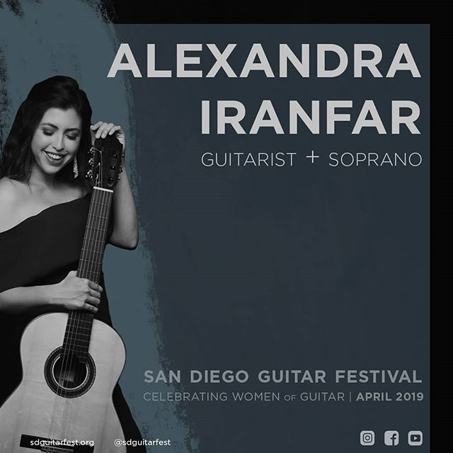 Alexandra Iranfar, guitarist AND soprano at SDGF19 on April 27! Tickets on sale now!