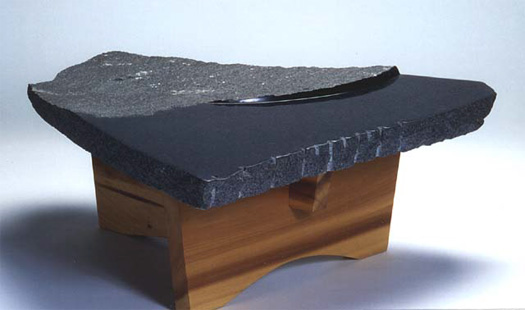 "Landscape Table  - Granite & poplar, 40"" x 40"" x 16"""