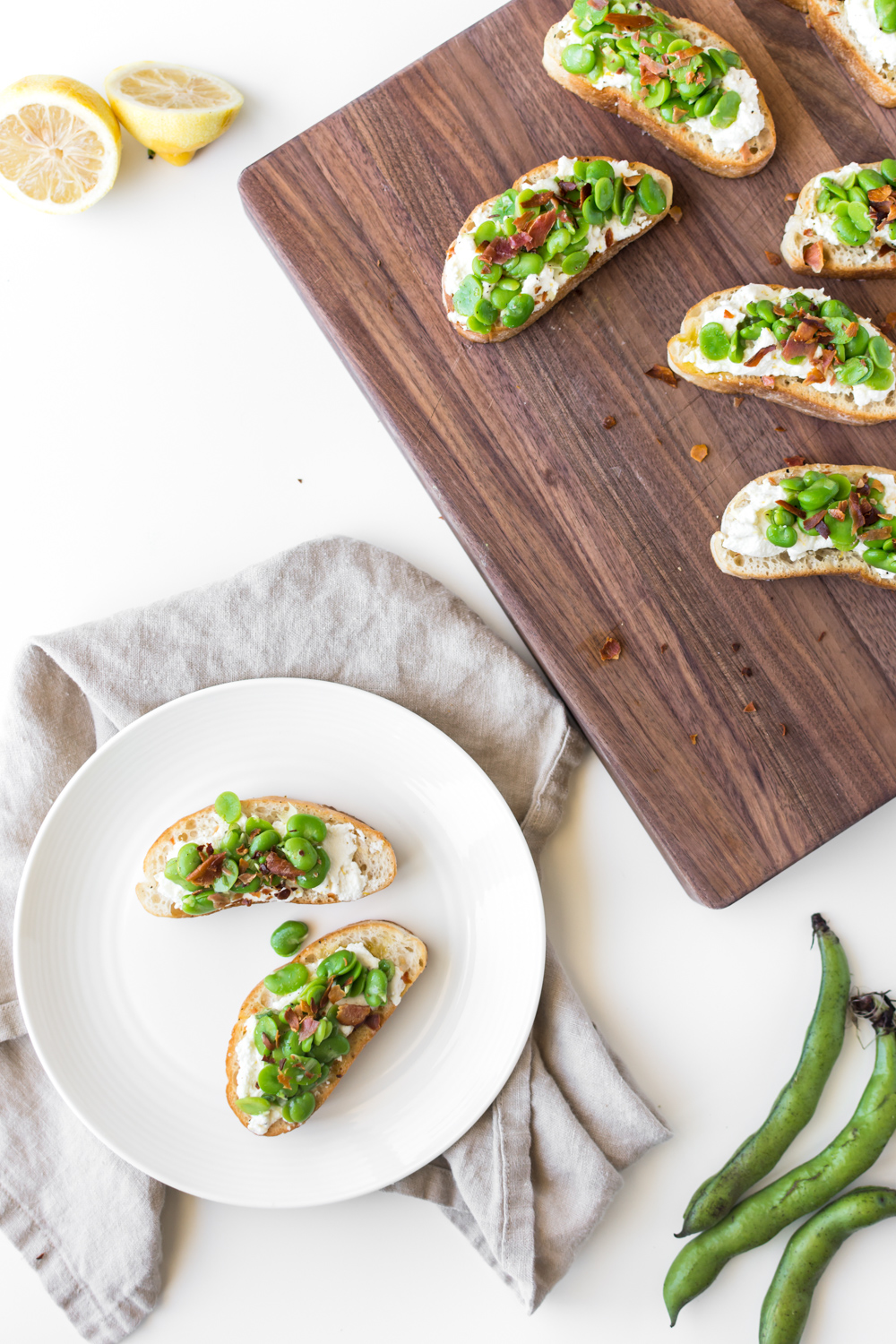 fava bean ricotta toasts with crispy prosciutto