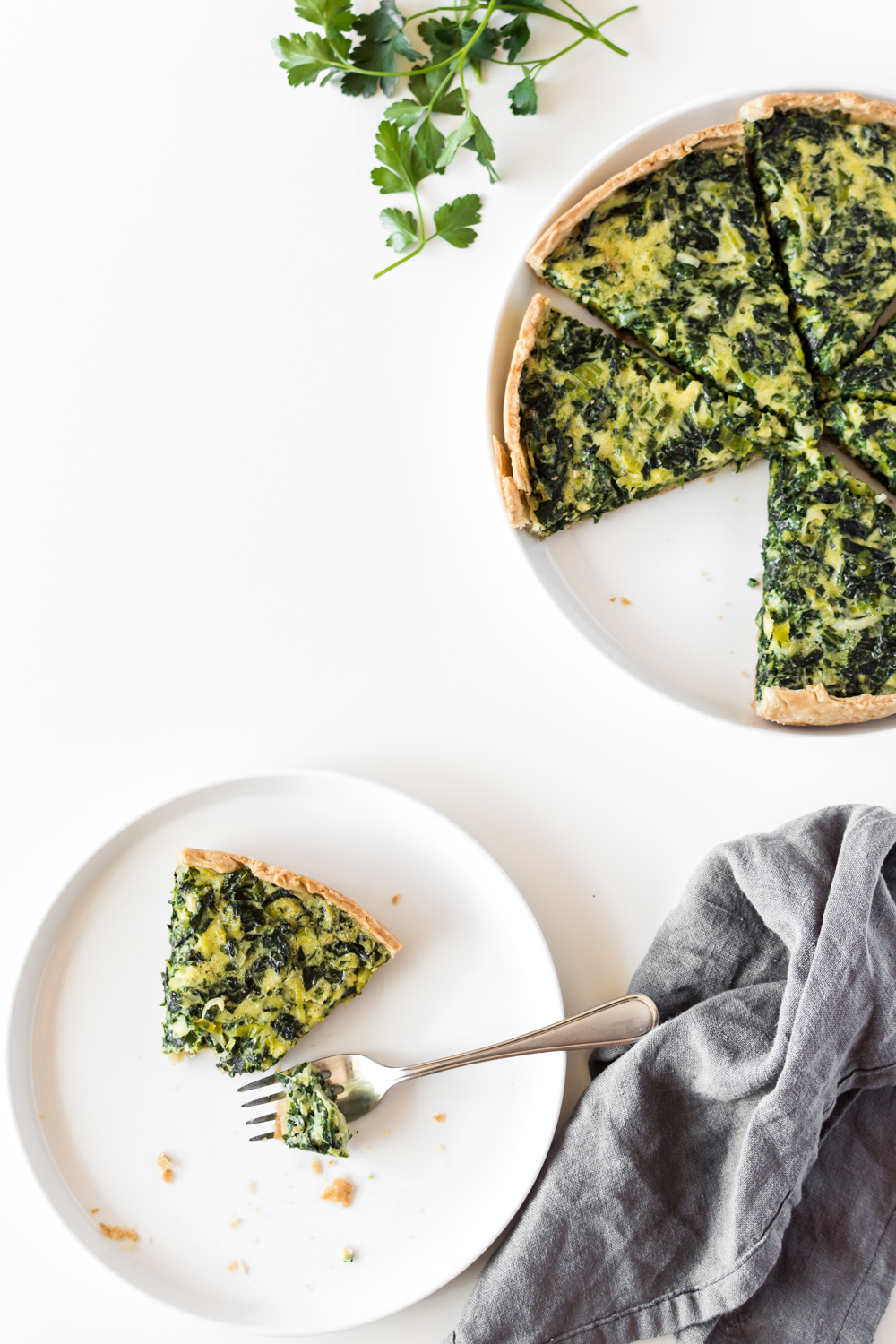 swiss chard tart with leeks and pecorino