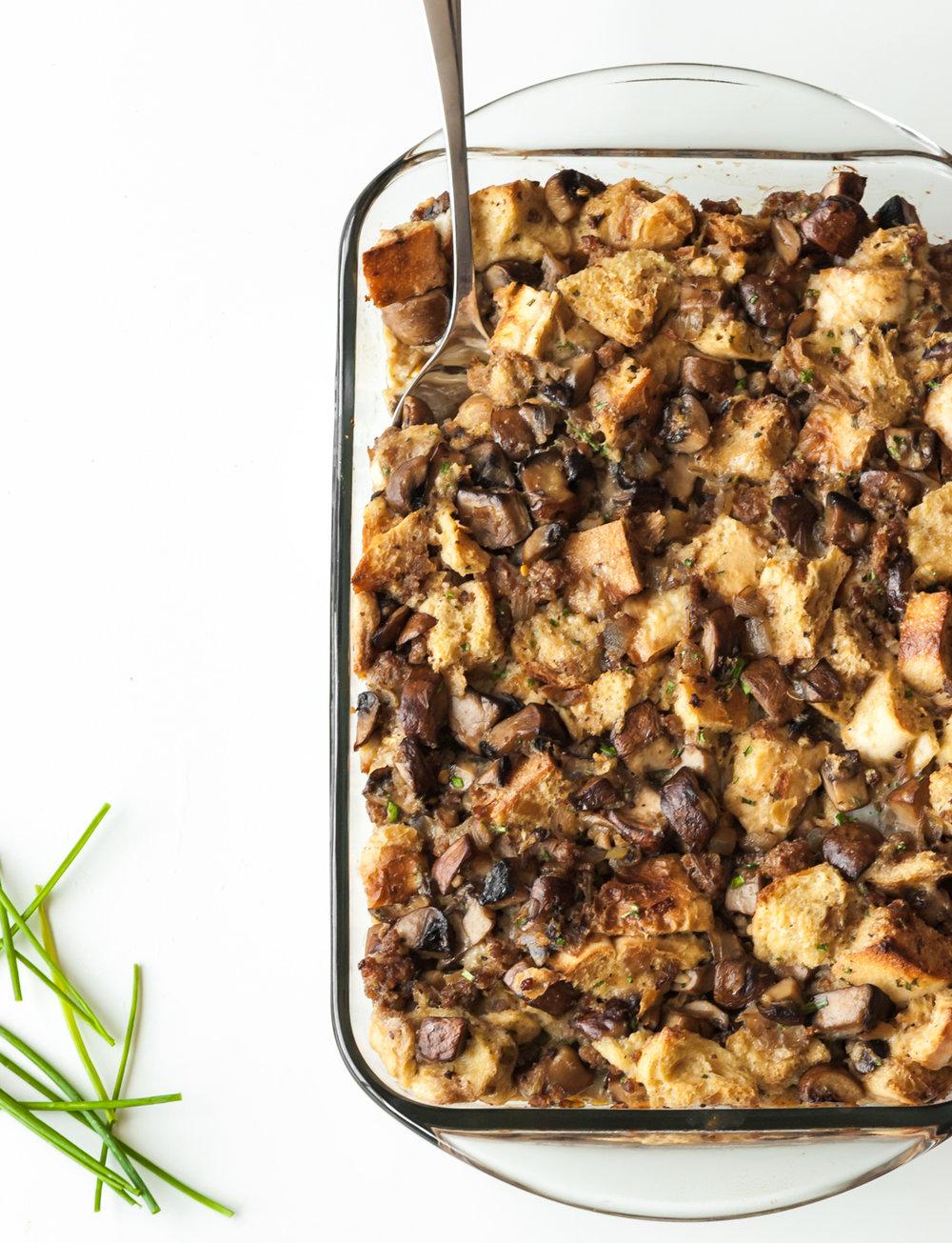 mushroom and sausage bread pudding