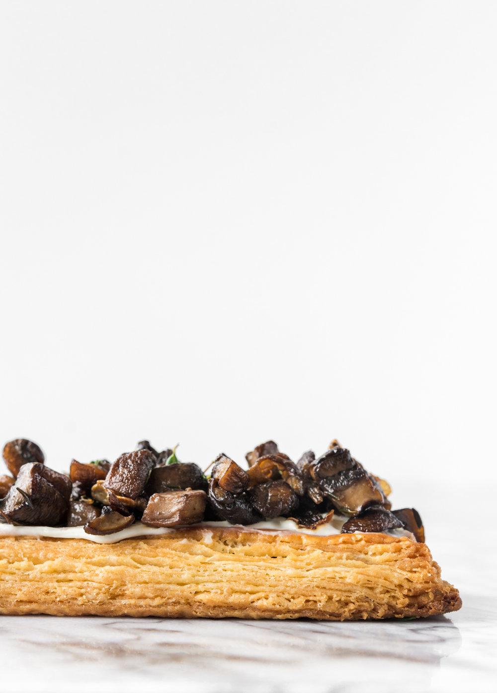 mixed mushroom goat cheese tart