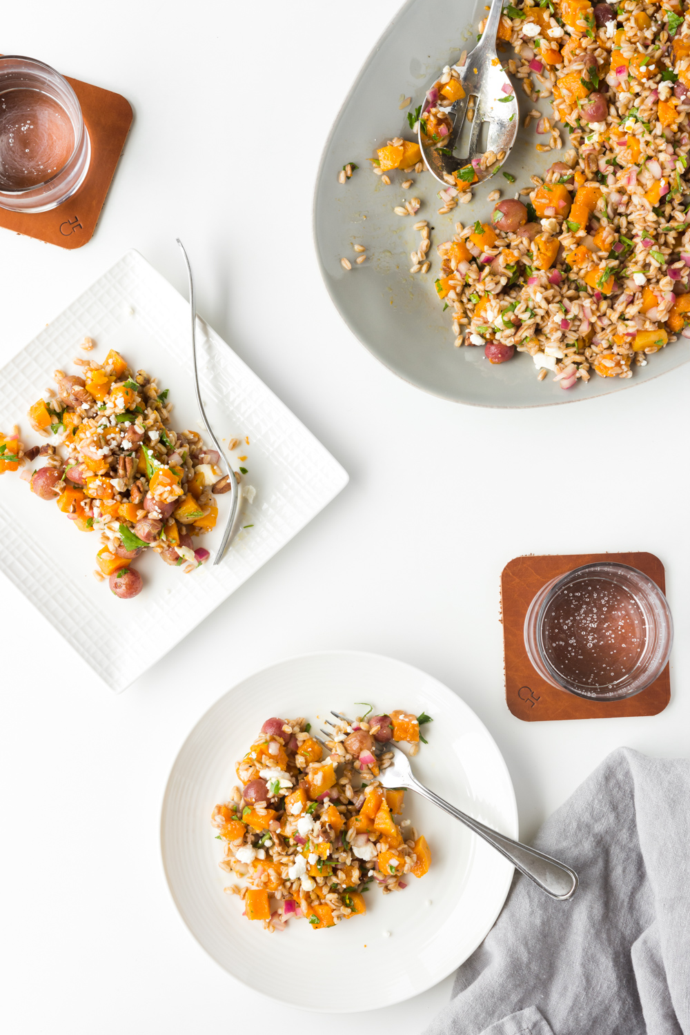 butternut squash salad with roasted grapes and farro