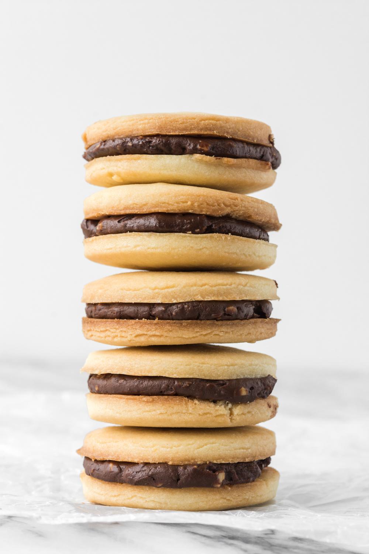 butter cookie sandwich with chocolate hazelnut ganache