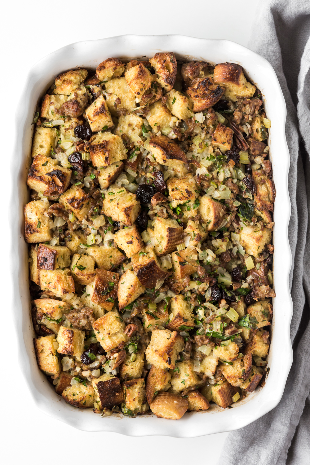 sourdough, sausage and sour cherry stuffing