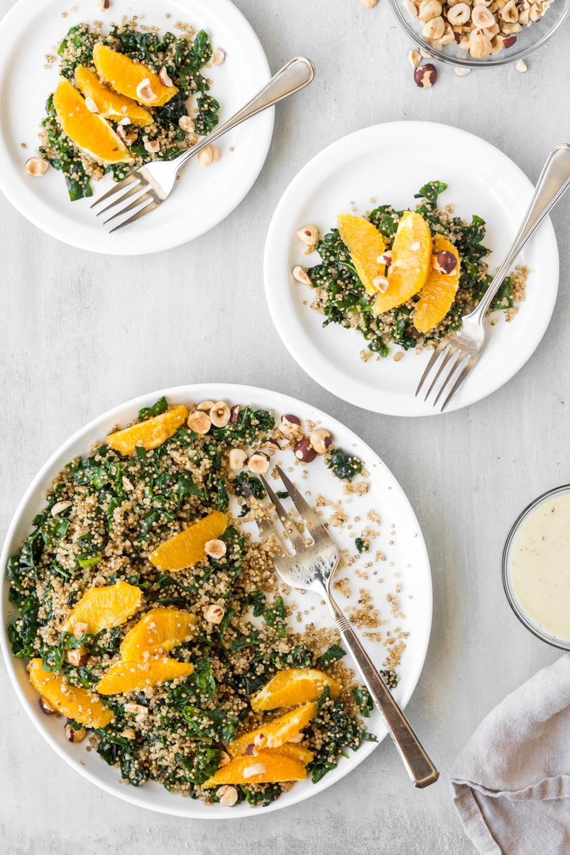 toasted quinoa, orange and kale salad with lemon tahini dressing