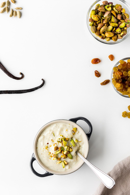 homemade vanilla cardamom rice pudding