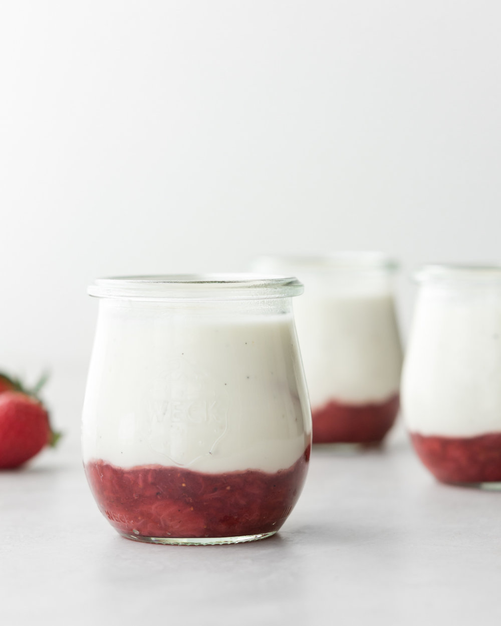 sour cream panna cotta with black pepper strawberry jam