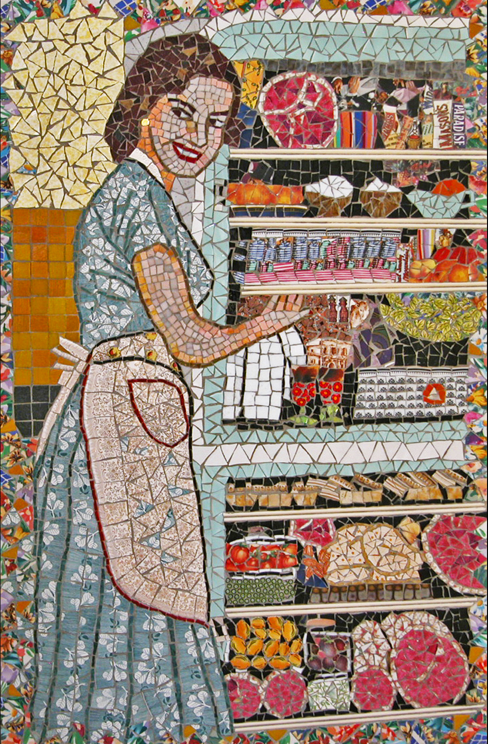 Pique Assiette - Pique Assiette mosaic also known as trencadis, broken tile mosaics and memory ware is a type of mosaic made from cemented together tile shards and broken china ware. Pique assiette literally translated, means