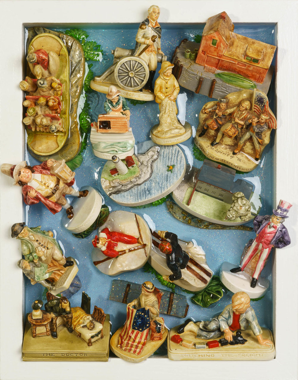 Example of 2-Dimensional custom artwork featuring a  collection of Sebastian Miniatures