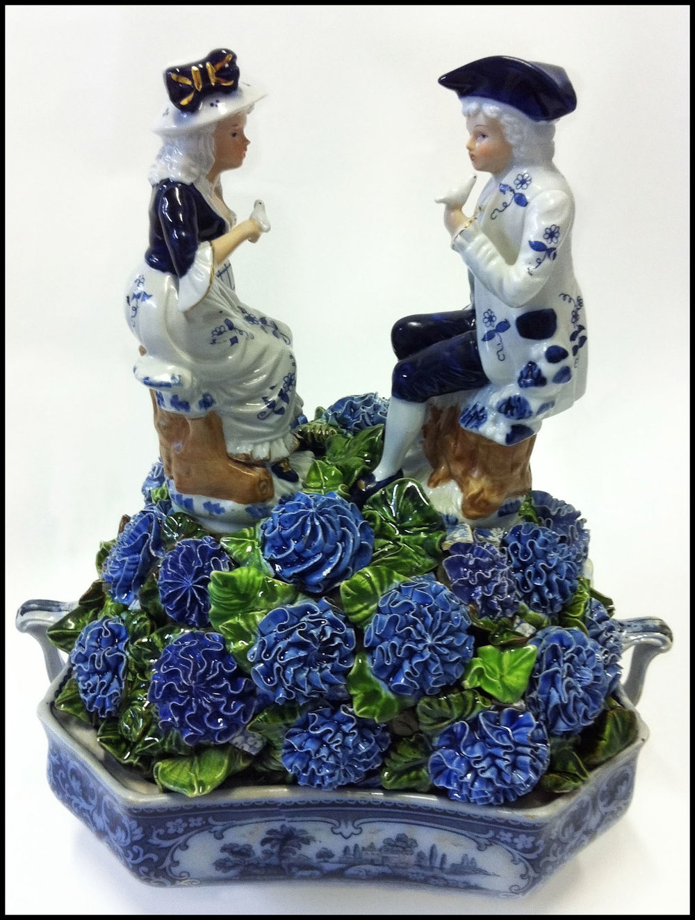 "BLUEBERRY HILL 13"" x 12"" x 8""   3D sculpture example  using heirloom blue and white china and figurines."