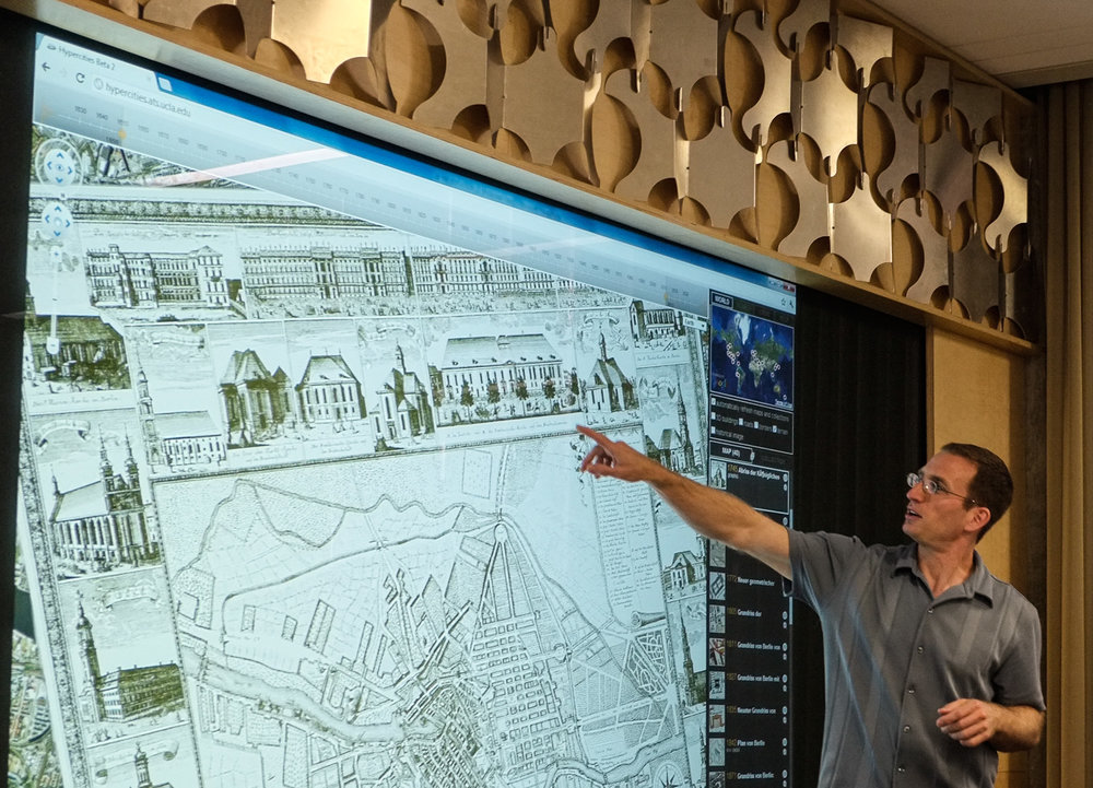 Todd shows us historic maps of Berlin in Hypercities