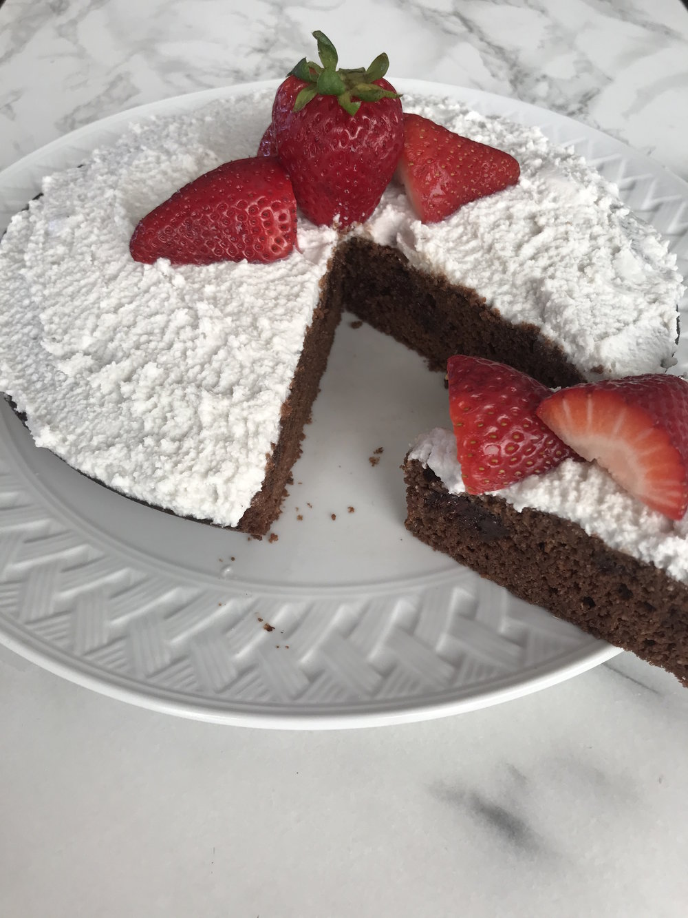 - Strawberries were a great combo with the chocolate and icing. But, like I said, you can use whatever you like!
