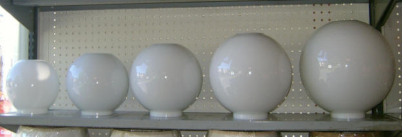 "Shown above from left to right: 7"", 8"", 9"", 10"", & 11"" Opal Ball Shades All of these shades have a 4"" fitter    7"" Opal Ball - $55.00 8"" Opal Ball - $60.00 9"" Opal Ball - $75.00 10"" Opal Ball - $95.00 11"" Opal Ball - $135.00"
