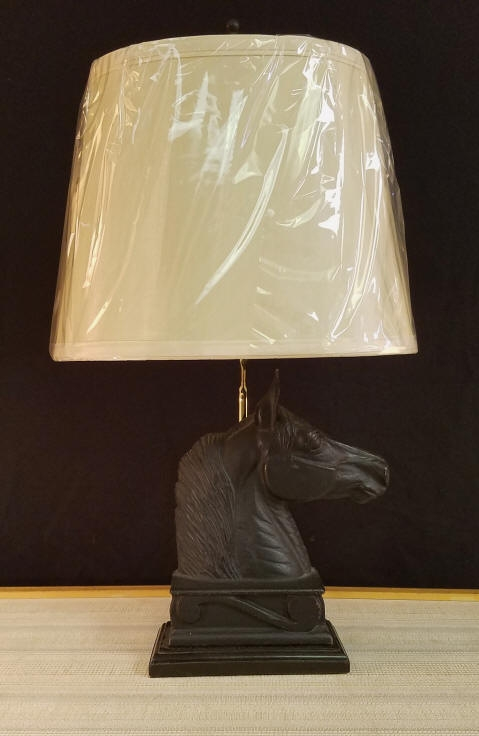 "Cast Iron Horse Lamp    This beautiful lamp has been made from a Cast Iron Bookend that was made by Virginia Metal Crafters, Copyright 1954 It stands 20"" tall including the Oval Lampshade that is included.    $250.00 plus shipping"