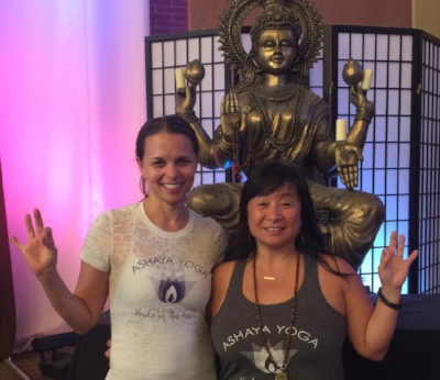 "With my Ashaya ""sister"" Silver Kim at Kripalu"
