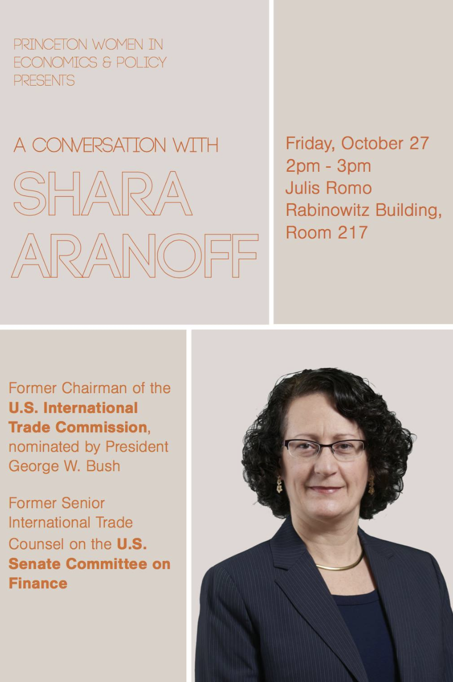 Shara Aranoff - Shara Aranoff is a former Chairman of the U.S. International Trade Commission, as nominated by President George W. Bush and confirmed by the Senate, and former Senior International Trade Counsel on the U.S. Senate Committee on Finance, where she was responsible for trade and investment issues. She has over 20 years of experience in US government. Today, she serves as counsel in trade law to Covington LLP. Shara is an alum of the Woodrow Wilson School and Harvard Law. Please join us for a conversation with Ms. Aranoff. She will share challenges she's faced and overcome in her career in government as a woman as well as a few highlights in her work in trade policy and negotiation. Come if you're interested in government or in trade and investment issues!If you have any questions you'd like to ask during the Q&A, feel free to submit them in advance through this link.
