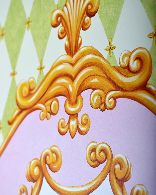 Miss Mary's room is fit for a princess with the regal detail of a hand-painted mural.