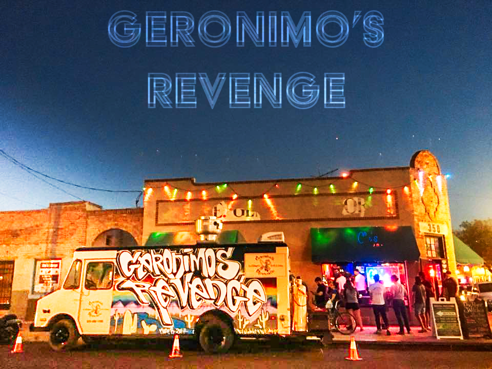- Fantastic food available Thursday through Sunday  just outside our door. Check out the menu of amazingly satisfying comforts: @geronimosrevengefoodtruck