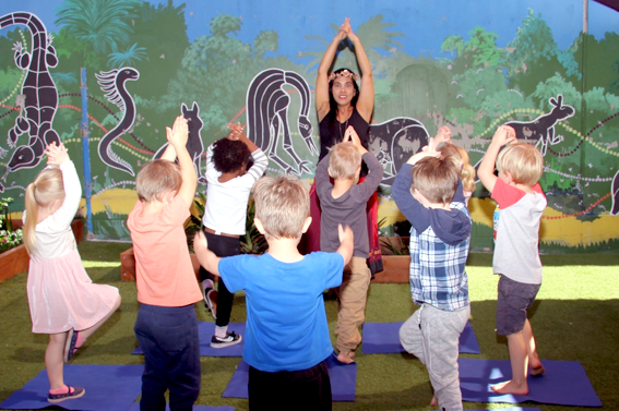 Yoga helps toddlers and kids get moving at daycare in Burleigh.