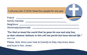 Connect step 1 - Prayer card: we commit to praying John 3:16 for these four people for one year.