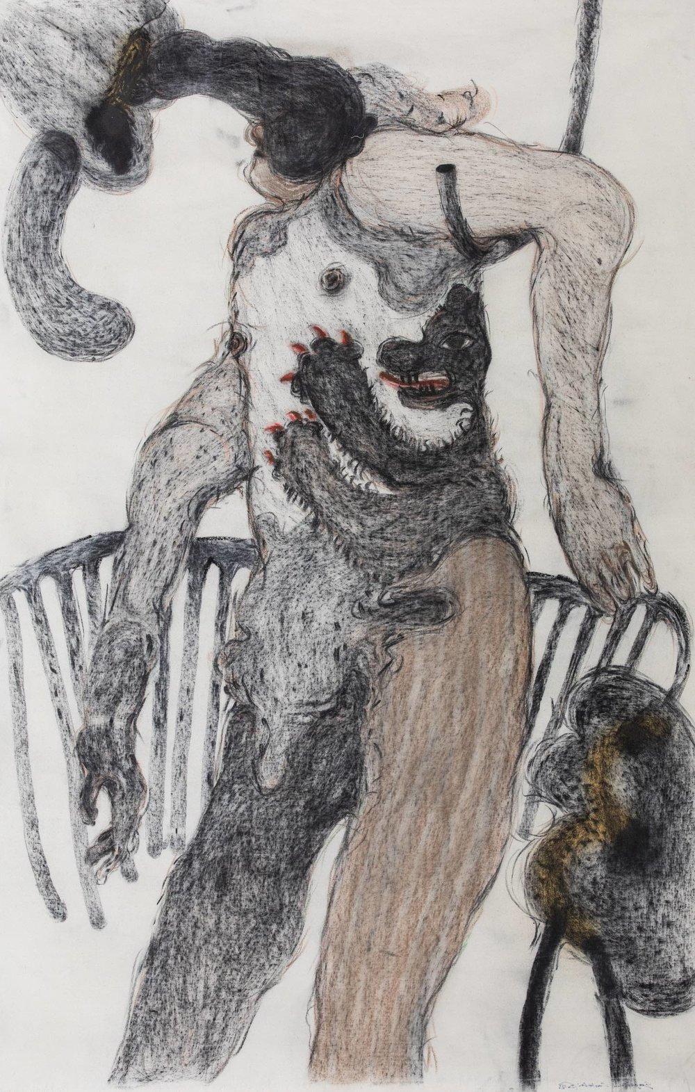Guglielmo Castelli, 'Gli inizi che non coincidono con le storie', 2018, crayons on no-prepared canvas, 150 x 100cm. Image courtesy of Parkview Museum Singapore
