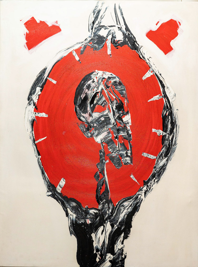 """Aung Soe Min, 'Time O' Clock (from the Mind Drops Series)', 2015, acrylic on canvas, 48 x 36"""". Image courtesy of Intersections Gallery."""