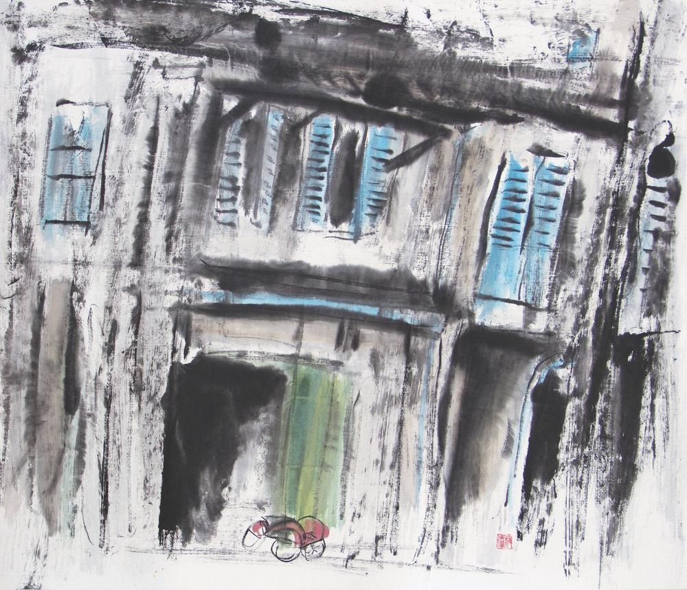 Chua Ek Kay, 'Street Scene' Series — 'Rickshaw Memory', ink on rice paper, 83x97cm. Image courtesy of Art Agenda, S.E.A..