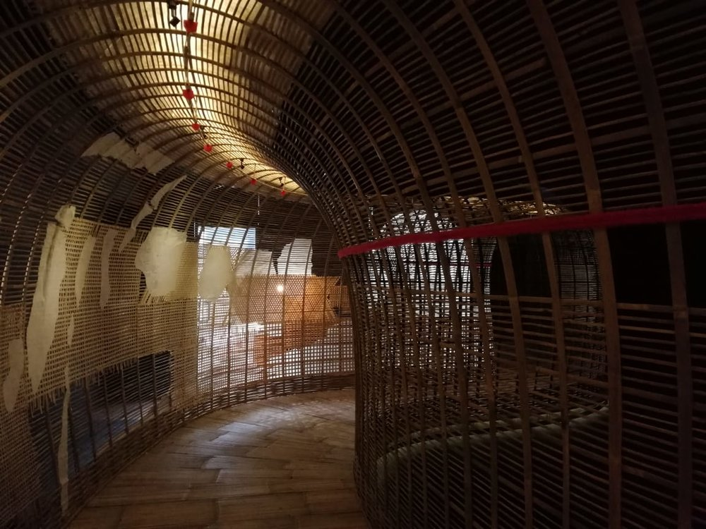 Sunaryo, 'Lawangkala', 2018, bamboo and rattan and video, site specific installation, variable dimensions. Image courtesy of Selasar Sunaryo Art Space.