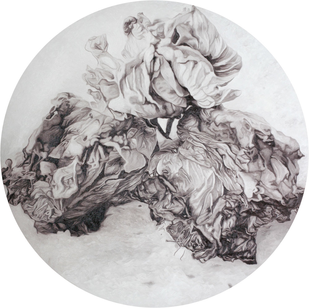 Patricia Perez Eustaquio, 'Flowers for X, II', 2016, oil on canvas, 152.5cm (diameter). Image courtesy of Silverlens.