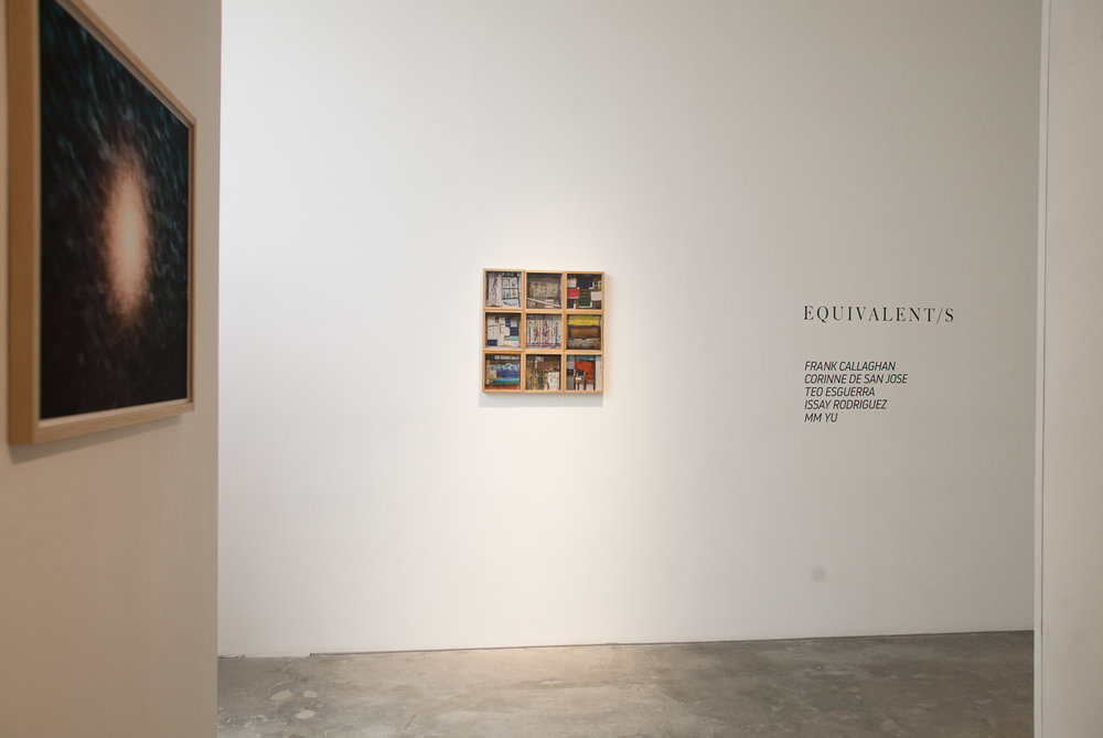 'Equivalent/s', 2018, gallery installation view with works by Frank Callahan (left) and MM Yu (right). Image courtesy of Silverlens.