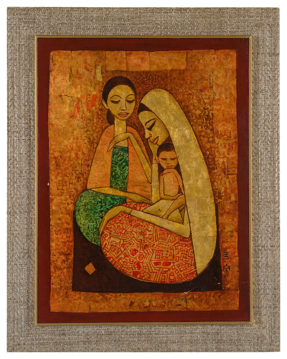 Cheong Soo Pieng, 'Two Ladies and a Child', 1974, oil on canvas, 60 x 45cm. Image courtesy of 33 Auction.