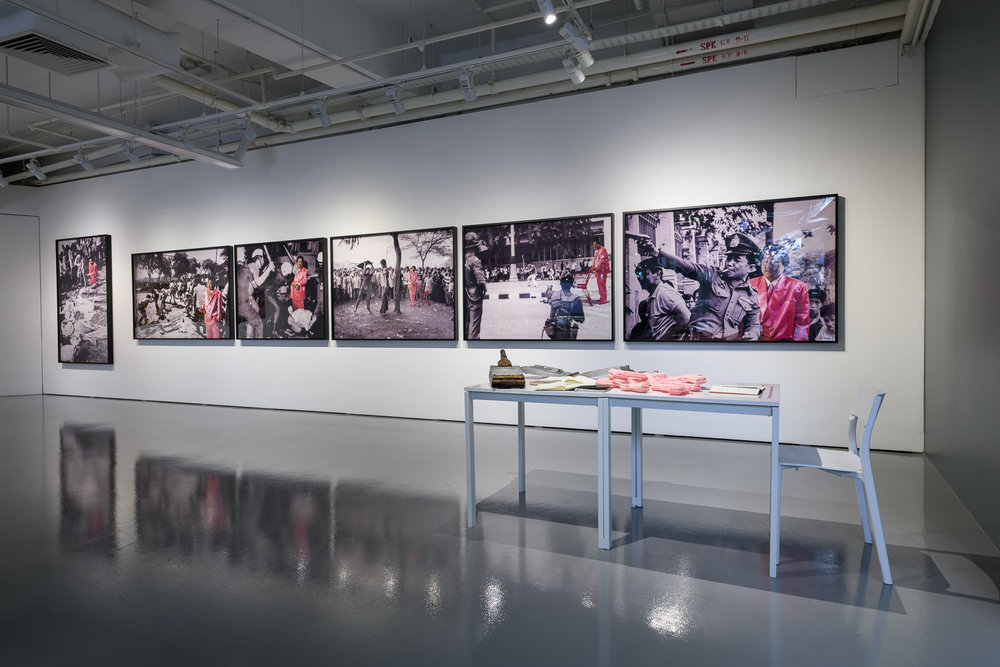 'Moving pledges: Art and action in Southeast Asia', 2018, gallery installation view. Image courtesy of Institute of Contemporary Arts Singapore, LASALLE College of the Arts (photo: Weizhong Deng).