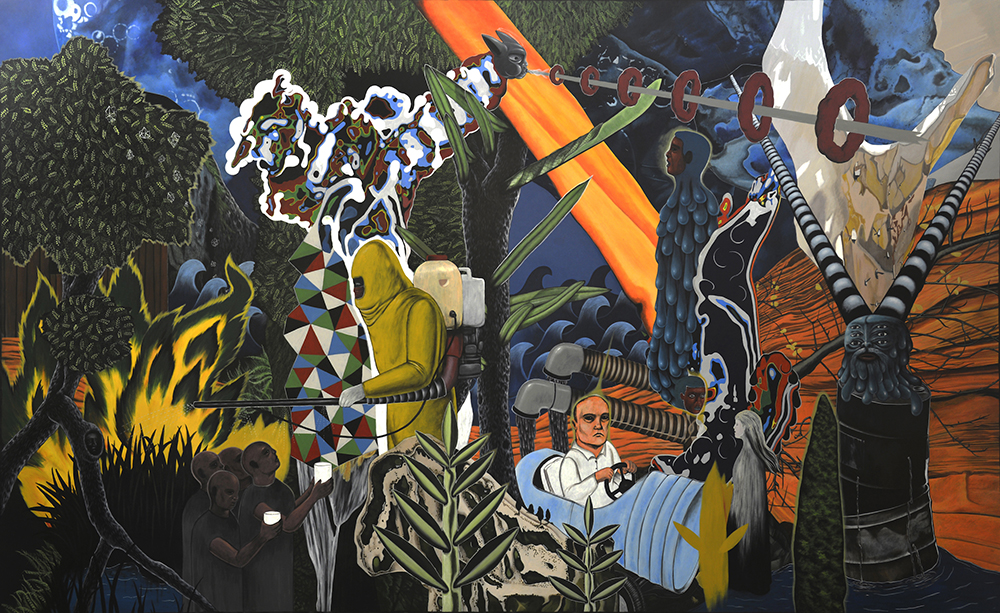 Rodel Tapaya, 'Water, Water Everywhere, Not a Drop to Drink', 2018, acrylic on canvas, 300 x 500cm. Image courtesy of Tang Contemporary and Arndt Art Agency.
