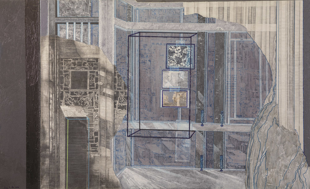 Hu Jingxuan, 'Encapsulated Time', Mixed media on canvas, 80 x 130cm. Image courtesy of UOB.