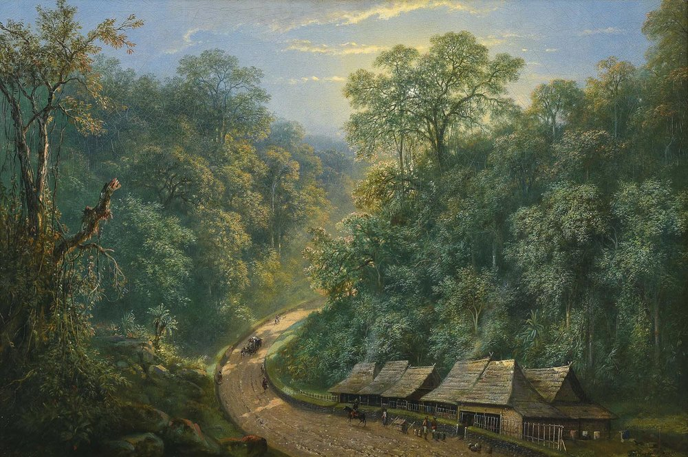 Raden Saleh, 'Mail Station at the Bottom of Mount Megamendung', 1871, oil on canvas, 72 x 106.5cm. Image courtesy of Christie's.