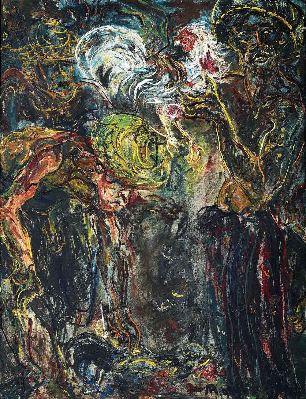 Affandi, 'Men with Fighting Roosters', 1959, oil on canvas, 128 x 99cm. Image courtesy of Christie's.