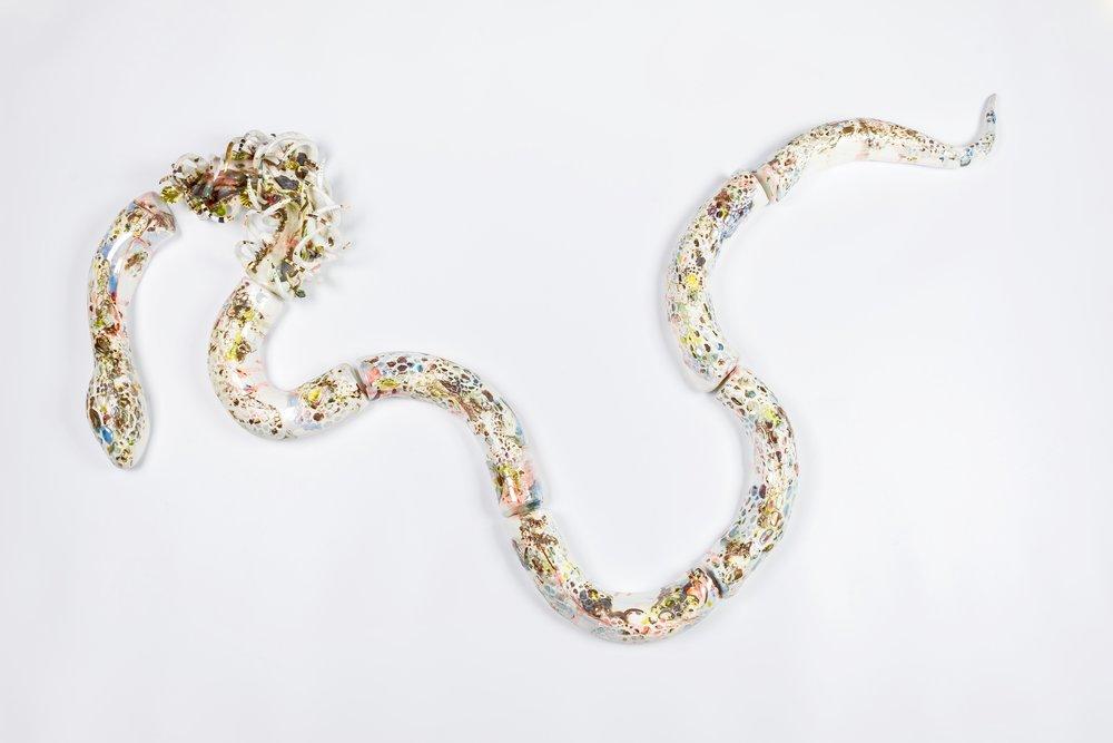 Soe Yu Nwe, 'Serpent #1, Burmese Python', 2018, glazed porcelain, luster, 160 x 20 x 101cm. Image courtesy of the artist.