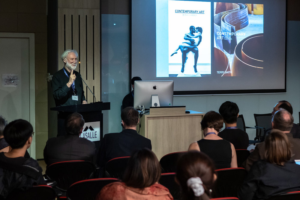Keynote speaker Terry Smith, Andrew W. Mellon Professor of Contemporary Art Theory, Department of History of Art and Architecture, University of Pittsburgh; Professor, Division of Philosophy, Art and Critical Thought, European Graduate School addressing the audience at 'Art and Action: Contemporary Art and Discourse in Southeast Asia'. Image courtesy of LASALLE College of the Arts (photo by Ken Cheong).