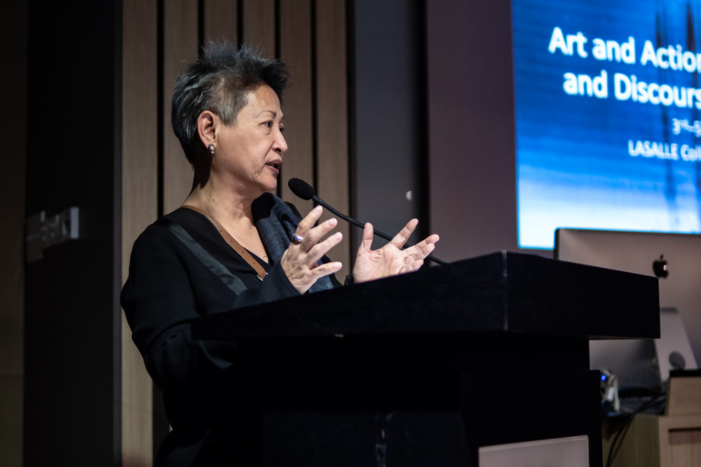 Marian Pastor Roces, Independent Curator and Critic, delivering her keynote address titled 'Conceptual Art and Authoritarianism in 1970s Southeast Asia' . Image courtesy of LASALLE College of the Arts (photo by Ken Cheong).