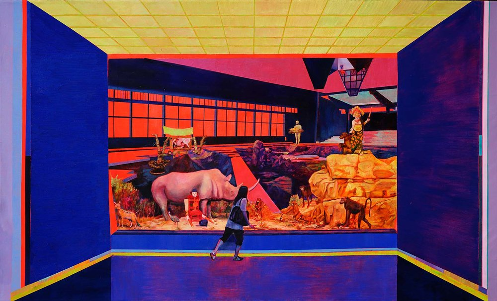 Zico Albaiquni (b. 1987, Indonesia), 'When it Shook - The Earth stood Still (After Pirous)' ,  2018, oil and synthetic polymer paint on canvas, 120 x 200cm. Image courtesy of the artist and Yavuz Gallery