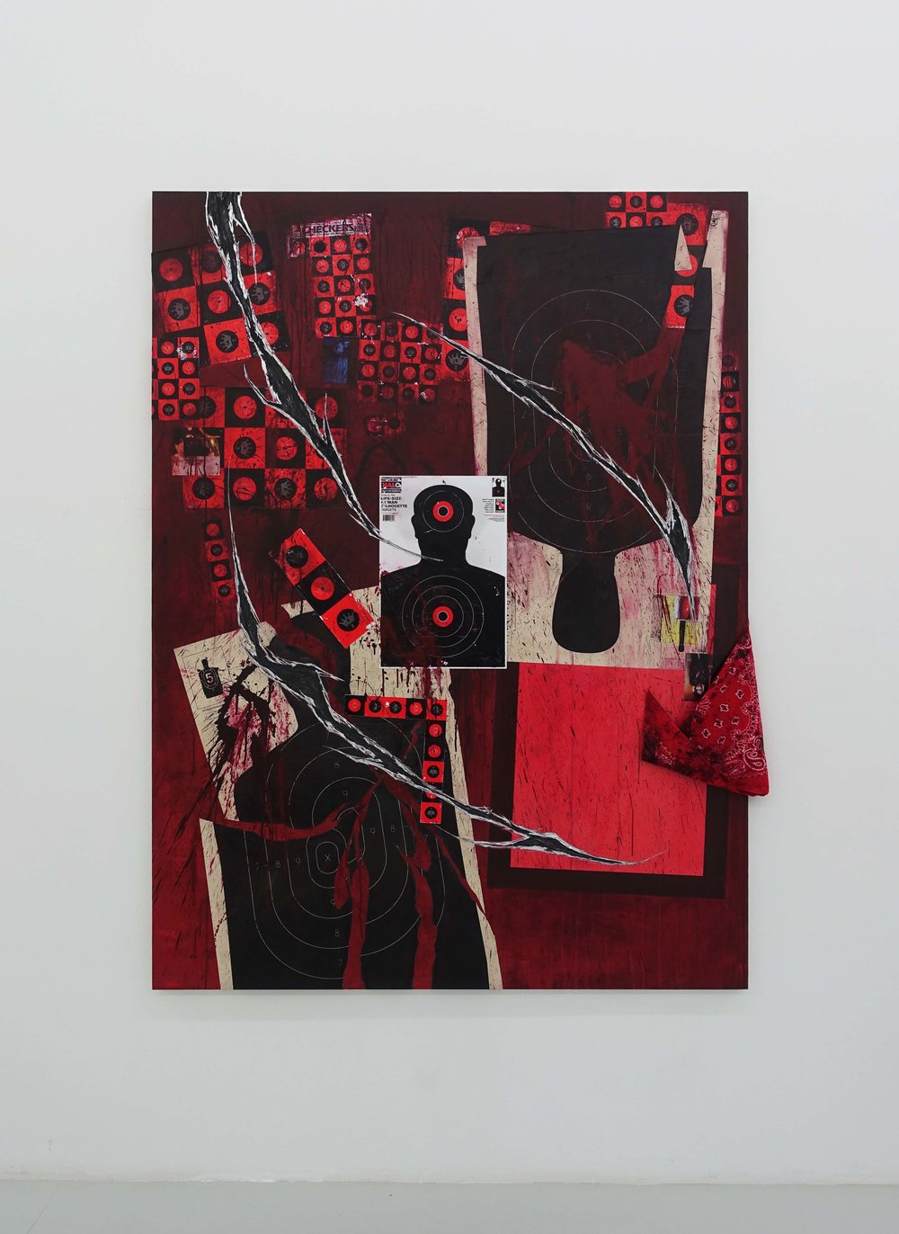 Ian Tee, 'EVIDENCE', 2019, acrylic, target paper, collage, song booklet and bandana on destroyed aluminium composite panel, 200 x 150cm. Image courtesy of the artist and Yavuz Gallery.