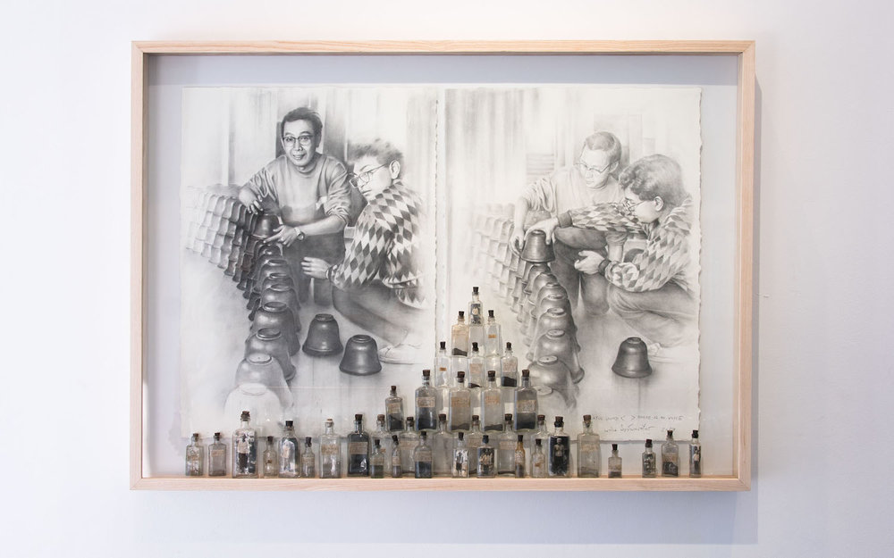 Navin Rawanchaikul, 'Lotus Sound < > There is No Voice', 2019, glass bottles, dust collected from O.K. Store, (1984-2015) and wood ashes collected from Navin Production's Body Temple (2015) on paper, 92 x 127 x 10cm. Image courtesy of Bangkok CityCity Gallery.