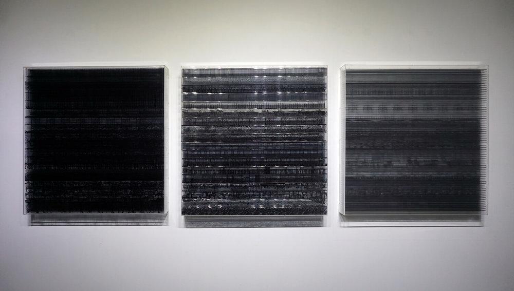 Aditya Novali, 'Abstract Logic: Mooi In(Die) series - Tomorrow (Deconstruction #1, #2, #3)', 2019, plexiglass, ink, wood, multi board, zinc, 81 x 81 x 10cm. Image courtesy of the artist.